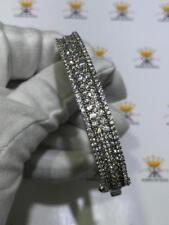 Platinum Sterling Silver Pave White Sapphire Wide Bridal Bangle Bracelet Gift