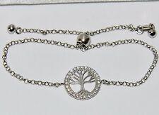 "Sterling Silver (925) ""Tree of Life"" Drawstring Adjustable Ladies Bracelet"