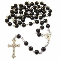 Rosary Beads Necklace With Silver Tone Crucifix In Various Colours  ROSARIES