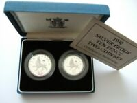 1992 ROYAL MINT SILVER PROOF TEN PENCE TWO COIN SET CASED/C.O.A. 1992 10P SET.