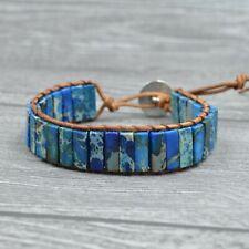 Male & Female Blue Emperor Stones Beaded Jewelry Single Layer Woven Bracelets