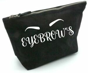 Eyebrow, make up bag, gift, toiletries, cosmetic, pouch, personalised, Christmas