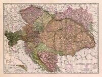 Map Antique Mcnally 1906 Austria-hungary Old Large Replica Canvas Art Print