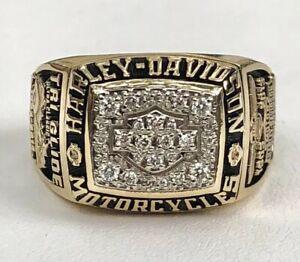 Men's Harley-Davidson Diamond Shield 10K Yellow Gold Ring 17.3 Grams Size 11.5
