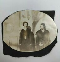 """Vintage B&W  Circular Cut Picture - Photo of Two Women Outside Building 3.5""""x3"""""""