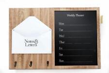 Wall Hanging Wood Weekly Planner Organiser Memo Chalk Board Letter Rack & Hooks