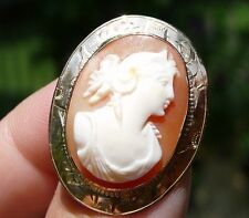 VINTAGE 10K GOLD CARVED SHELL CAMEO BROOCH PIN