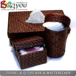 Neu Bali Pandan Tissuebox- & Q-Tips Box & Becher mit Deckel 3er Set