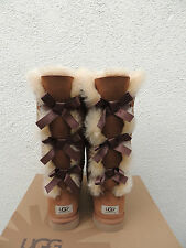 UGG CHESTNUT TALL BAILEY BOW TRIPLET SUEDE/ SHEEPSKIN BOOTS, US 6/ EUR 37 ~NEW