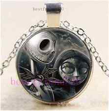 Skull Jack and Sally Cabochon Glass Tibet Silver Chain Pendant Necklace