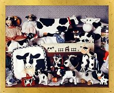 Holstein Cow Toys Collection Farm Animal Bathroom Wall Art Golden Framed Picture