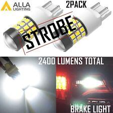 Alla Lighting LED 7443 Strobe Blinking Flashing Brake Light Bulb Safety,White,2x
