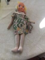 "Vintage Poland ? Swiss? Celluloid Cloth doll. 17"" Tall. Sawdust filling."
