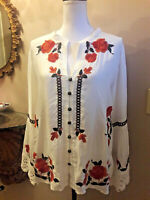 Tasha Polizzi Womens Ivory Margarete Embroidered Floral Crochet Cuffs Blouse NWT