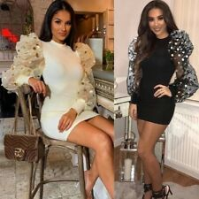 Womens Ribbed Long Bubble Sleeves Bodycon Stretchy Dress Party Cocktail Casual