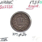 SUISSE - 1 FRANC - 1937 B - Pièce de Monnaie en Argent // Qualité: TTB
