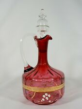 Antique Victorian Edwardian Ruby Cranberry Glass Decanter & Stopper Hand Painted