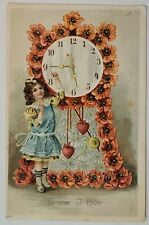 New ListingAntique Valentine Postcard Germany Young Girl Clock Flower Heart Paper Cancelled