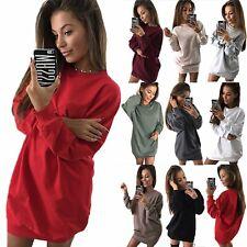 Womens Sweater Jumper Dress Winter Tees Long Pullover Tops Sweatshirt T-shirts