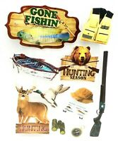 OUTDOOR SPORTS Hunting Fishing - Crafter's Square 3D Scrapbook Craft Sticker