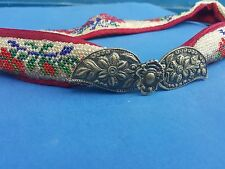 Antique 1920's Folk Art Embroidery Glass Beaded Belt With Buckles