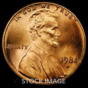 1982-D Large Date Zinc Lincoln Memorial cent penny - Beautiful GEM BU Quality