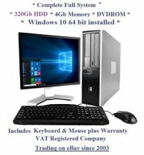 "Windows 10 Cheap Fast HP Core 2 Duo Full System 19"" Monitor Desktop Computer PC"