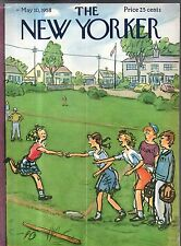 1958 New Yorker Cover May 10 - The girl hits a a homerun