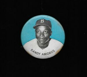 1950's PM10 Pin Sandy Amoros Brooklyn Dodgers-Blue Background