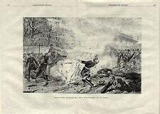 Stampa antica ATTENTATO allo zar ALESSANDRO II di Russia 1881 Old antique print