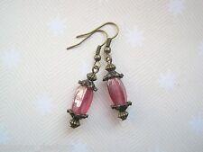 *ROSE PINK VINTAGE LANTERN LUSTRE GLASS BEAD* Bronze Drop Earrings Gift Bag
