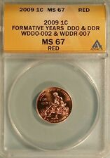 2009 Formative Years Lincoln Cent WDDO-002 & WDDR-007 Anacs MS-67 RD