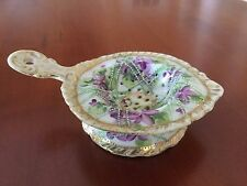 Antique Nippon Tea Strainer and Bowl Hand Painted Moriage