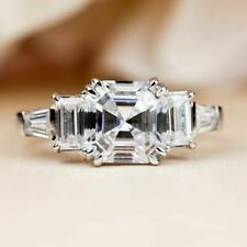 W / Gold Engagement Wedding Ring 4.07Ct White Asscher Cut Diamond 14Kt
