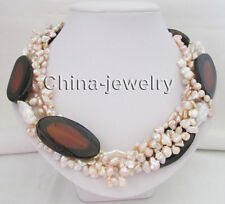 "19"" 5row 7-27mm pink baroque keshi reborn freshwater pearl & 51mm agate necklace"