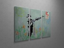 "Banksy Boy With Machine Gun Stretched Canvas Triptych Print 48""x30"". BONUS DECAL"