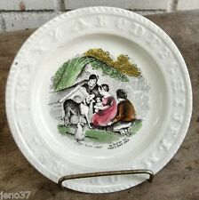 Antique Staffordshire Alphabet Plate Verse Dogs Children 1889 Provenance on Back