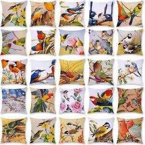 Kissenbezug 45x45 Kissenhülle Dekokissen Dekoration Blume Vogel Kurzer Plüsch