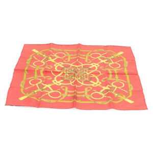 HERMES Carre Handkerchief scarf 100% Silk Red Auth fm355