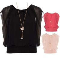 Womens Ladies Plain Chiffon Vest Top Blouse Batwing Butterfly Necklace