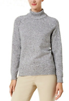 Karen Scott Women's Large Sweater Gray White Marbled Turtleneck Pullover NEW #35