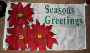 """BEAUTIFUL 3 X 5 Ft. """"SEASONS GREETINGS"""" FLAG/BANNER WHITE w/RED POINSETTIAS -NEW"""