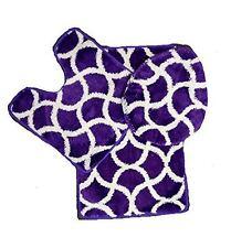 Geometric 3 Pc Thick Wave High Pile Bathroom Set Rug Toilet Lid Cover - Purple