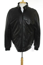 Barnabe Hardy Brown Leather Solid Print Jacket Size 54 $1965 New 082589