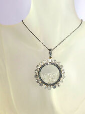 HUGE GENUINE 2.50ct HALO CLUSTER ROSE CUT DIAMOND PENDANT VALUATION $3,190
