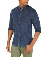 INC Mens Shirt Navy Blue Size Small S Banded Collar Stripe Print $65 #121
