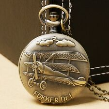 FOKKER Dr.1 Retro Bronze Aircraft Pattern Analog Quartz Pocket Watch Necklace