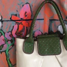 Fab  Old Orla Kiely leather tote cream green   pink floral Craft Room  Storage c1d080432bcb7