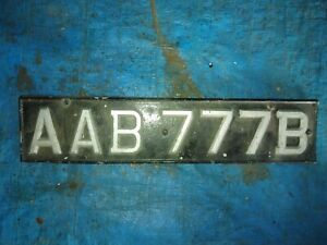 Old classic car number plate AAB777B