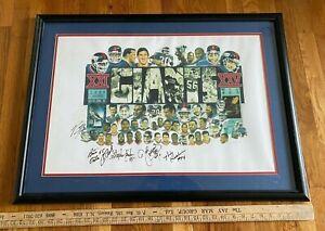 Superbowl XX1 -Football  NY Giants Vs Denver Broncos Framed Signed Poster-Giants